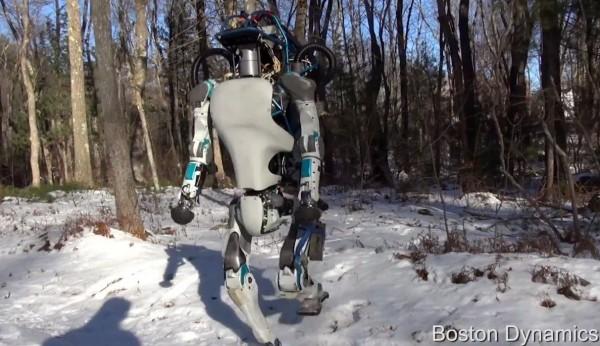 See Atlas walking on snow in open